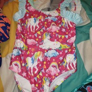 Girls Unicorn Bathing suit sz 8